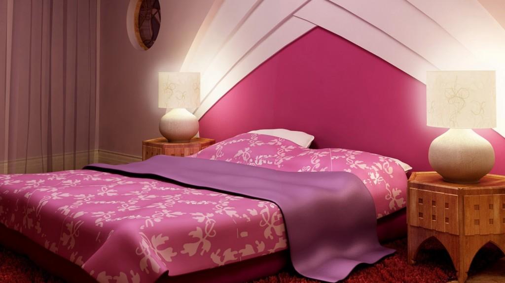 Kamar tidur warna Pink